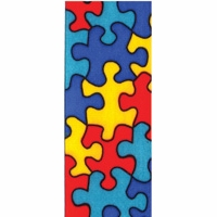 Offray Blues Jigsaw Print Satin Ribbon