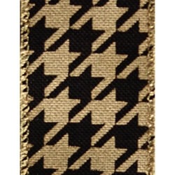 Gold/Black Evony Houndstooth Ribbon