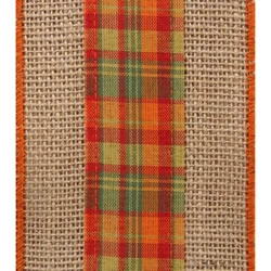 Natural Harvest Ra Burlap and Plaid Ribbon