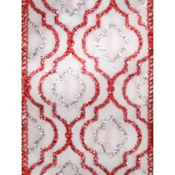 Red/White Justine Wire Edge Sheer
