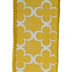 Yellow Trelly, Wire Edge Ribbon