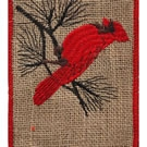 Natural Red Cardinal Wire Edge Burlap